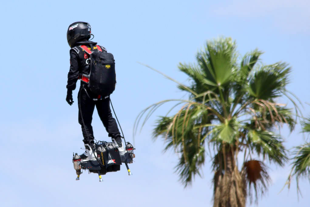 Lake Havasu and its surrounding mountains, provide some breathtaking photo ops for Zapata Racings, Franky Zapata and his new Flyboard Air. Ken Gallagher/RiverScene