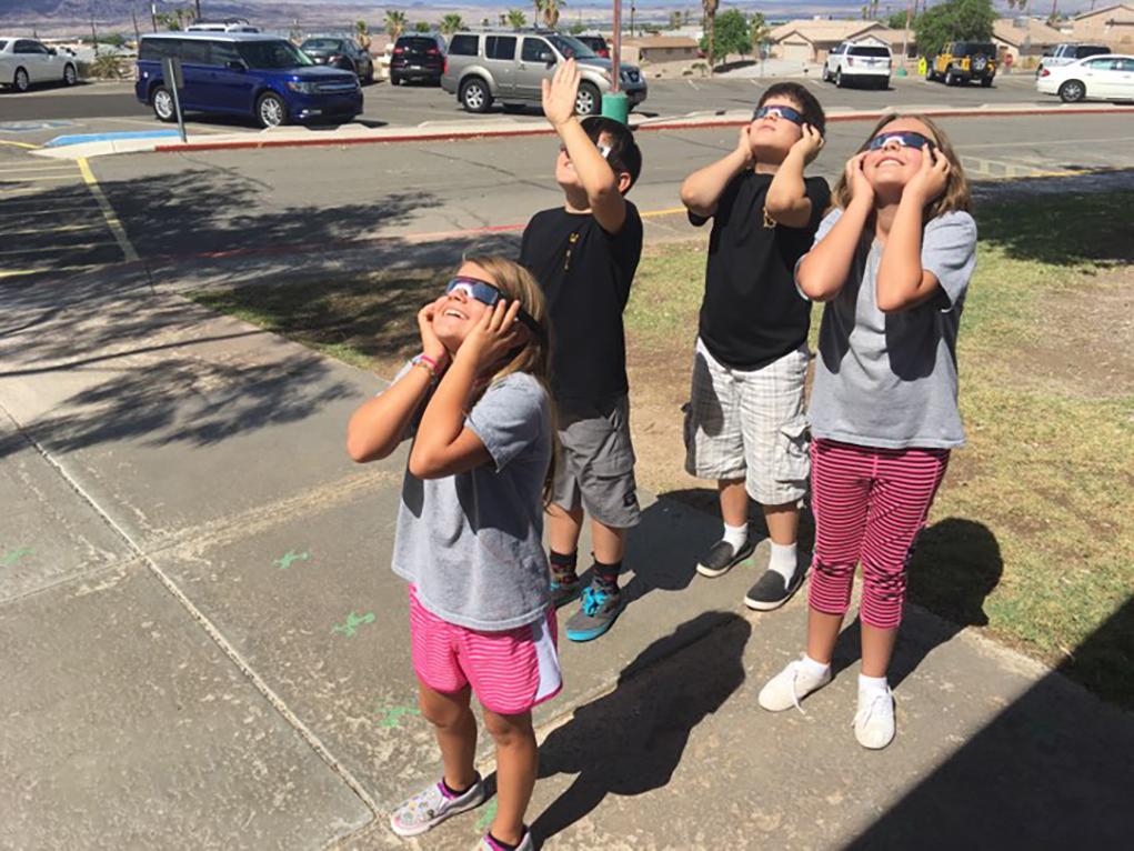 Oro Grande Students View Monday Eclipse
