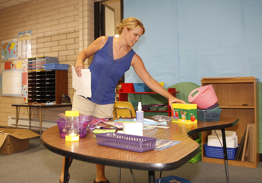 Teachers Preparing For First Day