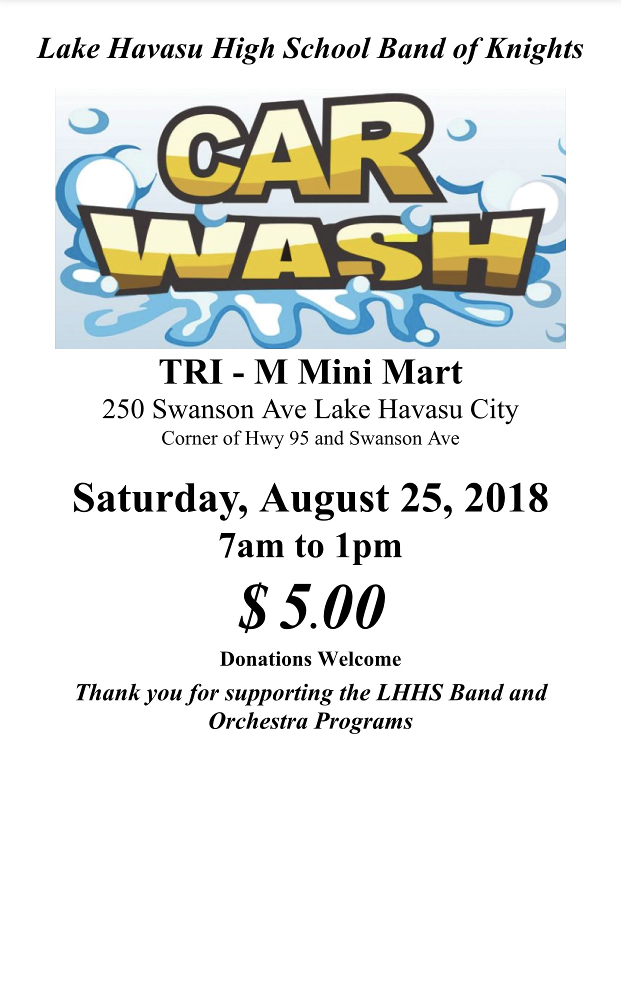 LHHS BAND OF KNIGHTS CAR WASH FUNDRAISER