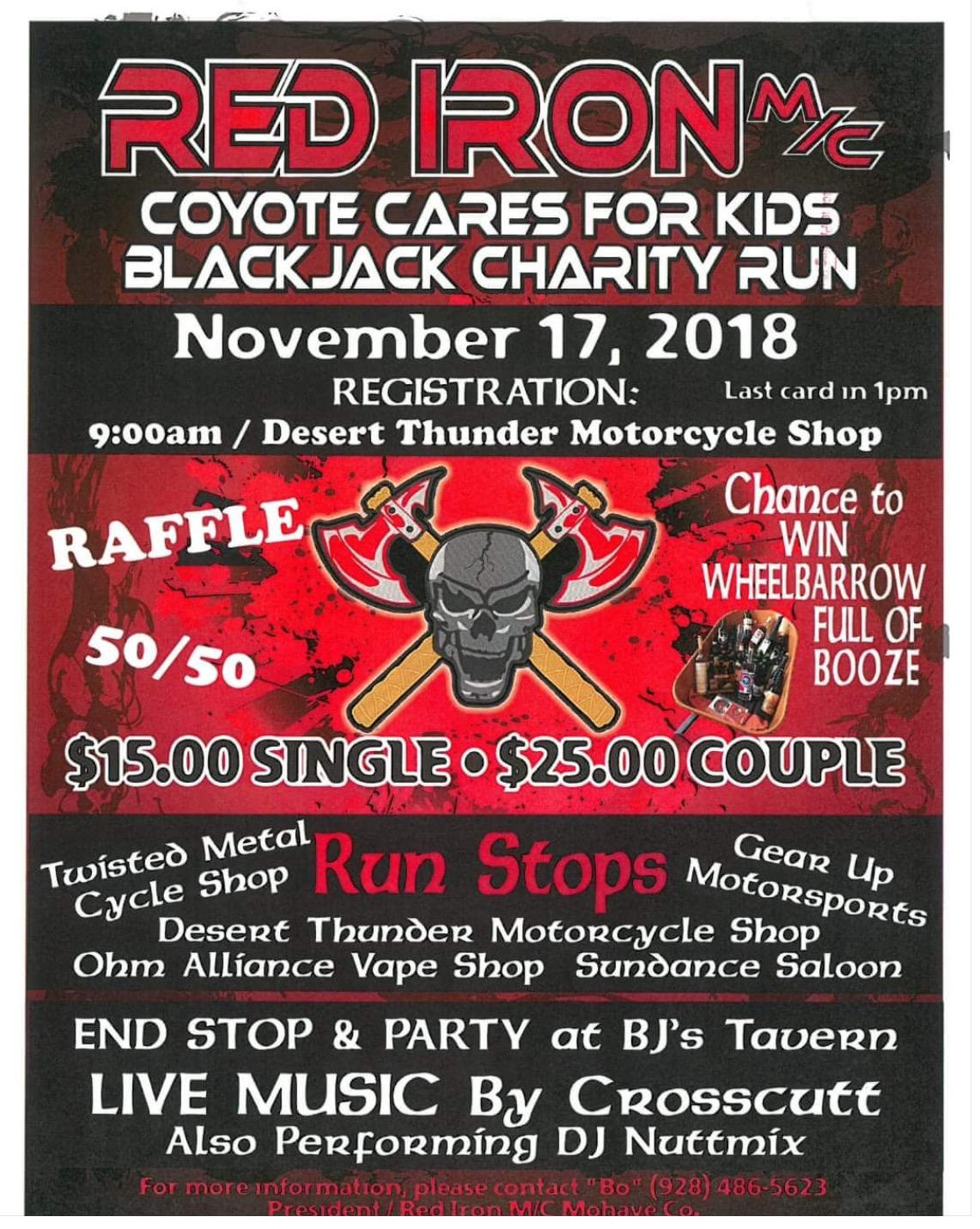 Red Iron m/c Coyote Cares for Kids Blackjack Charity Run