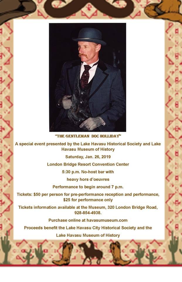 Lake Havasu Museum of History Presents A Gentleman Doc Holliday