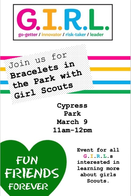 Bracelets in the Park with Girl Scouts