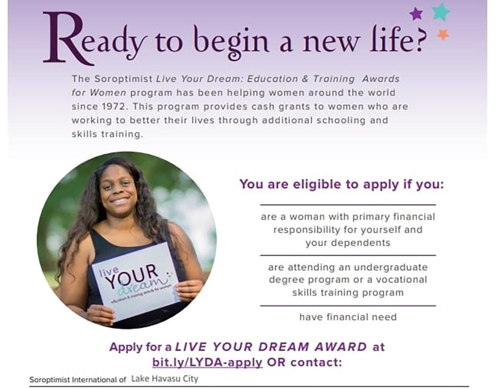 Soroptimist Offers Live Your Dream Grant