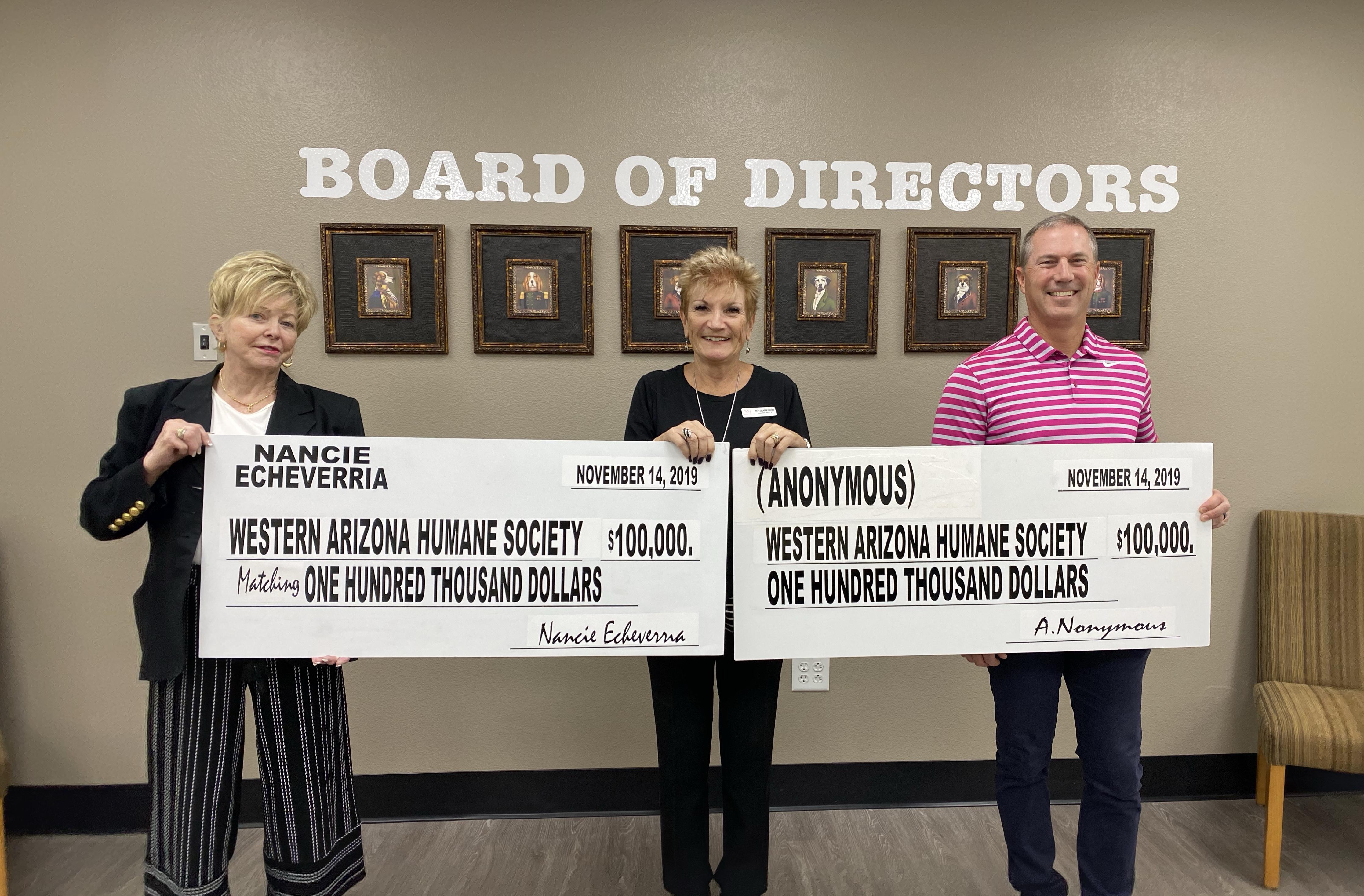 Western Arizona Humane Society Gifted With Generous Donation
