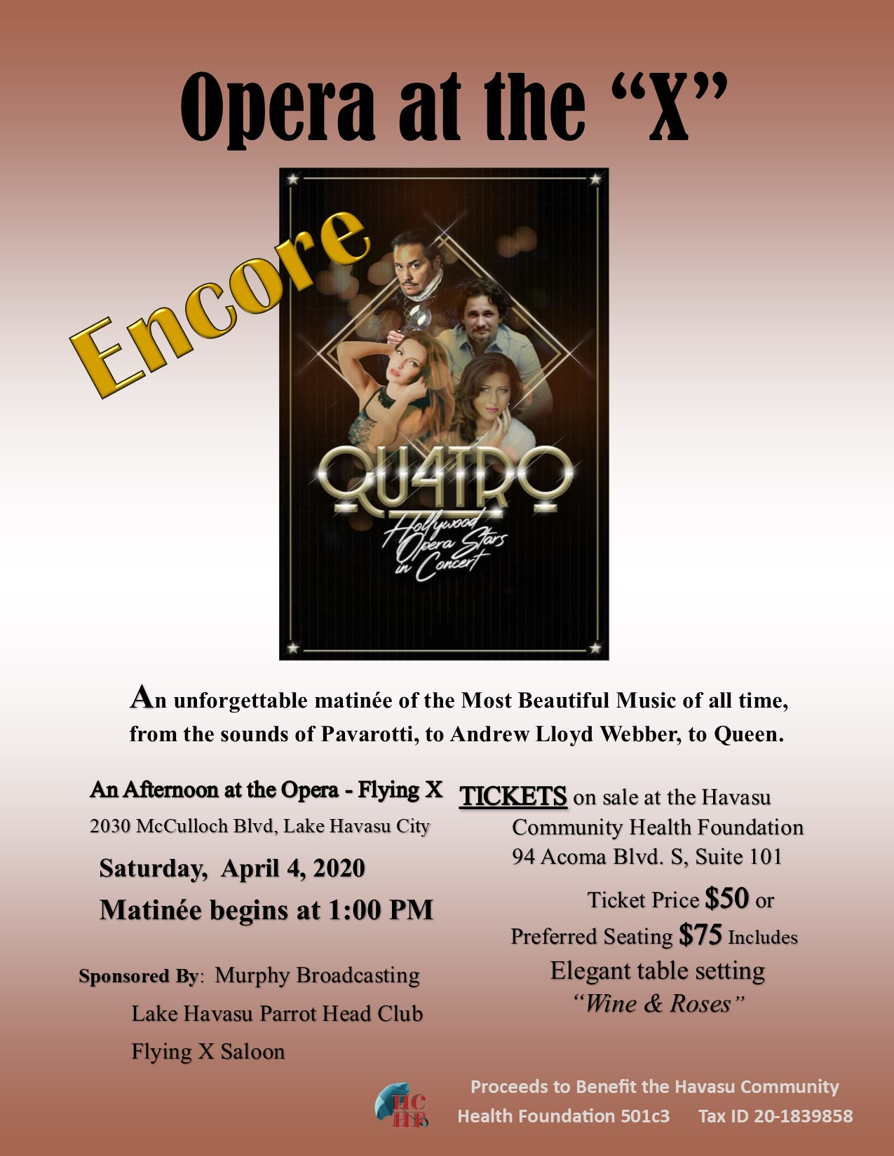 Opera at the X – Encore is postponed.