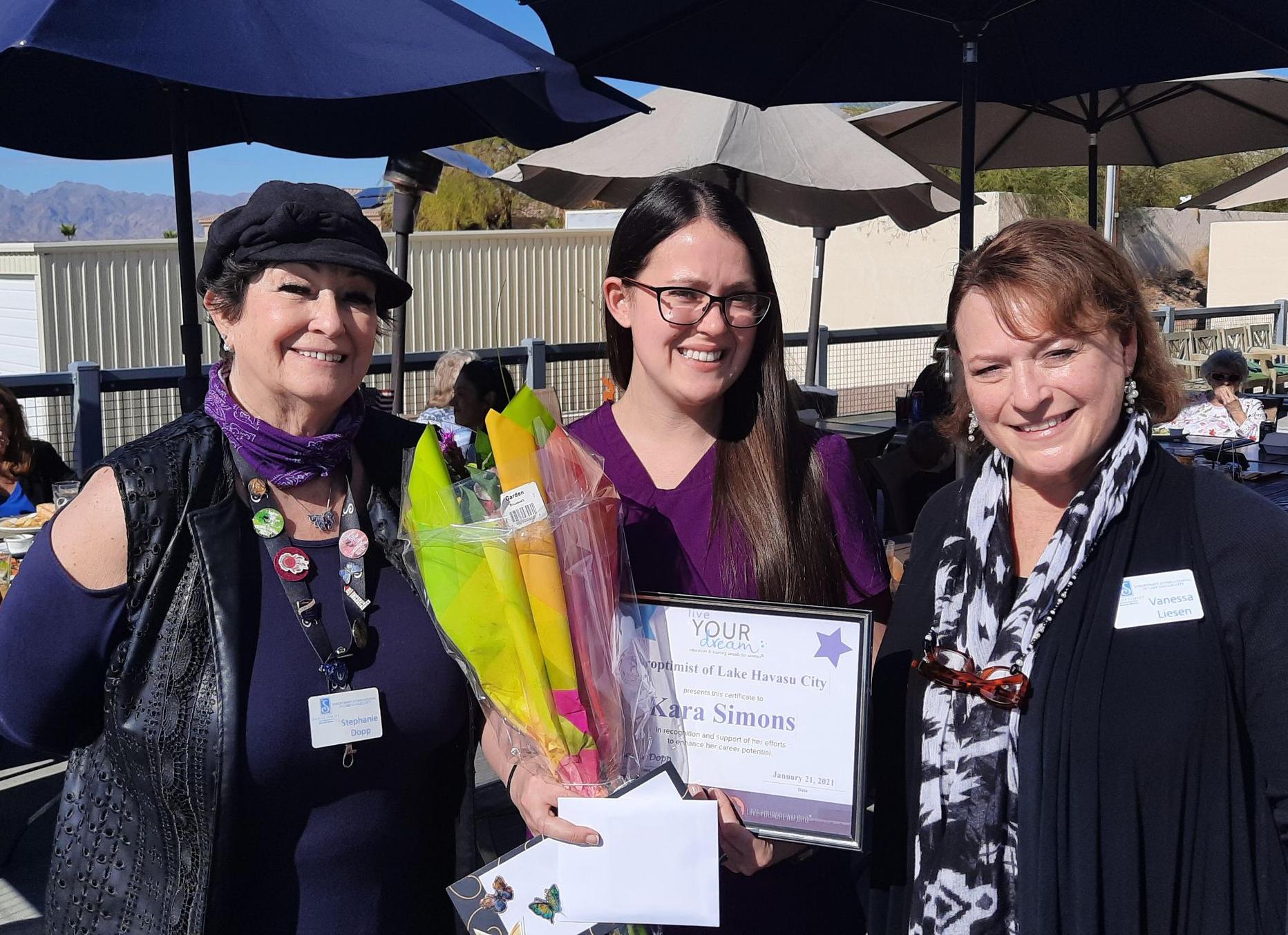 Kara Simons Receives Soroptimist International of Lake Havasu Live Your Dream Award