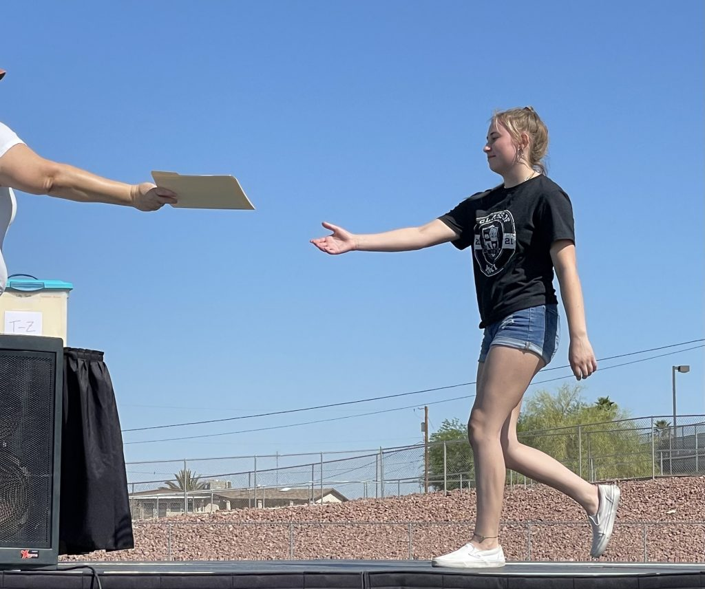 Students practice for 2021 Graduation at LHHS Tuesday morning. Jillian Danielson/RiverScene