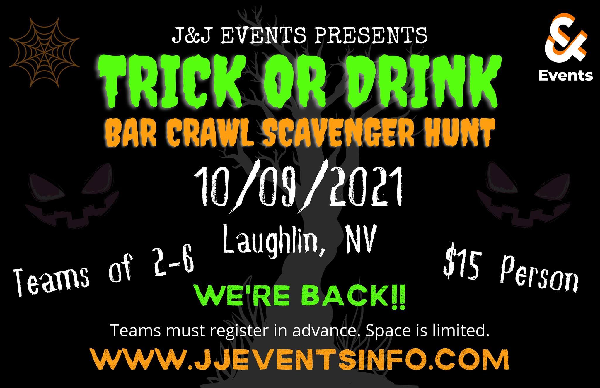 Trick or Drink Bar Crawl Scavenger Hunt